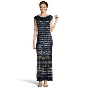 Calypso St Barth Navy Gold Francena Sequin Gown XS